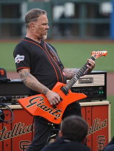 James Hetfield plays the national anthem before the San Francisco Giants play the Colorado Rockies at AT&T Park in San Francisco, Calif., on Friday, May (Jim Gensheimer/Bay Area News Group) Metallica, Thrasher, Hard Rock, Music Pics, Art Music, Music Videos, Documentary Filmmaking, Jim Morrison Movie, Music Documentaries