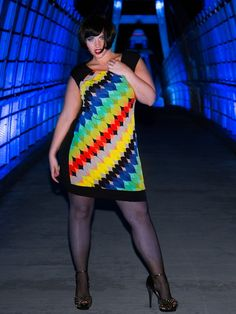 The plus size Kaleidoscope Sheath Dress on Elly Mayday at www.lucyclothing.ca HOT!