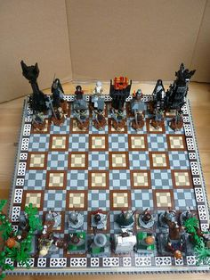 lotr lego chess board