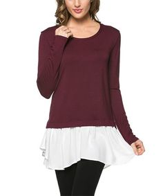 Look what I found on #zulily! Wine Lace-Trim Tunic #zulilyfinds