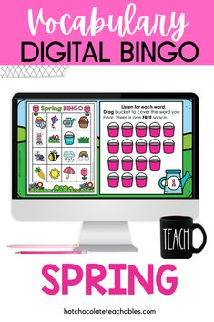 This Spring & Easter vocabulary bingo game is a fun and engaging way to build and practice vocabulary in any language. A great way to learn and review 23 different seasonal vocabulary words. (This BUNDLE includes both Print and Digital versions of the same game so you can play with your students year after year regardless of your learning situation). Kids love bingo and it's the best game to target concepts during classroom parties. English Vocabulary Games, Vocabulary Building, Listening Skills, Active Listening, Classroom Language, Spring Theme, Bingo Games, Spring Activities, Educational Games