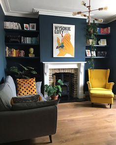 The first space I want to introduce you to is my living room. Even though the house was in a pretty decent condition, we've. Dark Green Living Room, Dark Living Rooms, Colourful Living Room, Cottage Living Rooms, Living Room Colors, Living Room With Fireplace, Home Living Room, Living Room Decor, Cottage Lounge
