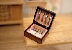 Miniature cutlery set in wooden box in 1/12 scale