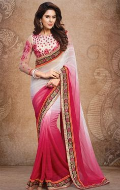 Picture of Smashing Off White and Pink Designer Saree