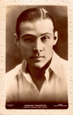 RUDOLPH VALENTINO May 6 1895- Aug 23 1926 died age 31. One of my favorite images of  the Great Latin Lover. 1920's vintage original embossed Beagles sepia postcard. (minkshmink collection) (Please follow minkshmink on pinterest) #rudolphvalentino #latinlover #matineeidol  #silentstar #movieidol #beaglespostcard