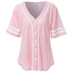 LE3NO Womens Oversized Short Sleeve Baseball Jersey Shirt ($27) ❤ liked on Polyvore featuring shirts, short sleeve tops, short sleeve shirts, short-sleeve button-down shirts, short-sleeve shirt and pink baseball jersey