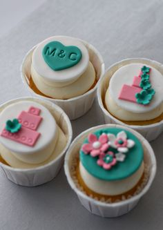 Fondant Wedding Cake, Monogram and Flower Bouquet Toppers for Decorating Engagement or Wedding Cupcakes. $20.00, via Etsy.