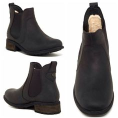 """UGG Leather Bonham Boots - Black//Sz6 is on hold These unworn, weather resistant, full-grain leather boots feature UGGpure wool lining for comfort and warmth. These boots also feature elastic goring on each side for easy slip on/off. Boot shaft measures 5"""" and heel height is 1.5"""" No trades. UGG Shoes Ankle Boots & Booties"""