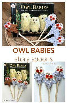 Owl Babies Story Spoons - The Imagination Tree Eyfs Activities, Infant Activities, Activities For Kids, Crafts For Kids, Sequencing Activities, Owl Babies Book, Baby Owls, Story Sack, Tree Study