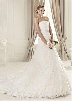 Stunning Tulle Strapless Neckline Natural Waistline Wedding Dress