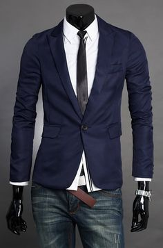 British Style Men Long Sleeve One Button Navy Suit M/L/XL/XXL @X131099n