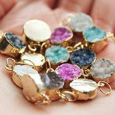 Polka Semi Precious Drusy Pendant - necklaces & pendants