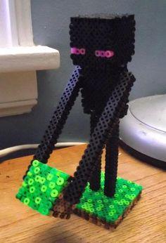 Minecraft Enderman 3-D Perler Bead Statue by TheMeltedGeek, $16.00 USD