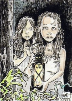 The Thing in the Hallway ACEO ATC Girls Ghosts by thehauntedstudio, $5.00