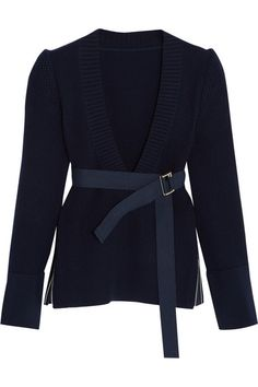 Sacai | Belted ribbed wool sweater | NET-A-PORTER.COM