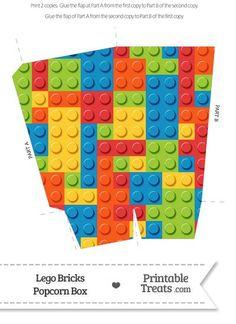 Lego Bricks Popcorn Box--- https://www.pinterest.com/printabletreats/lego-theme-printables/: