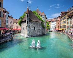 Annecy France in the Rhone-Alpes region located about 60 miles east of Lyon. Gorgeous blue green water with the charm of old architecture. Bliss!