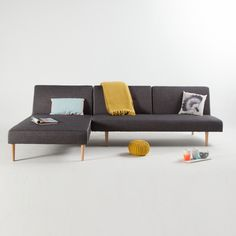 Canapé d'angle convertible tissu modulable gris chiné REBECCA kaligrafik port offert