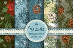 Winter seamless patterns set by Vector beauty on @creativemarket