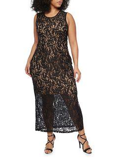Plus Size Sleeveless Lace Maxi Dress with Back V Neck,BLACK