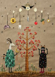 irisnectar:  Spring Ritual, embroidery by İrem Yazıcı (Baobap Handmade)  A bit freaky I think