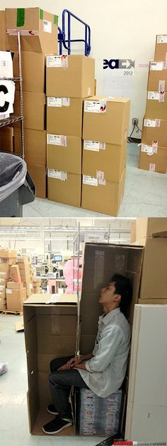 This makes me wish I worked in a boring ol' office.. No cardboard to hide behind at the hospital ):