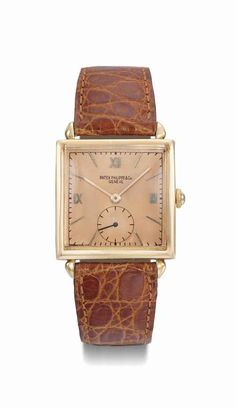 Patek Philippe. An 18K pink gold square wristwatch with pink dial,  manufactured in 1943 355767c5b95
