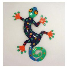 Small Blue Tropical Gecko Lizard Haitian Metal Wall
