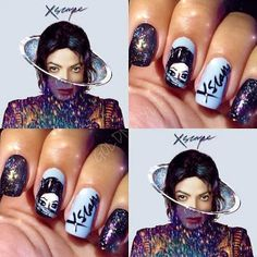 "Michael Jackson ""Xscape"" nail design."
