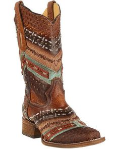 Corral Women's Turquoise and Brown Embroidered Cowgirl Boots - Square Toe , Brown Cowboy Boots Women, Western Boots, Western Wear, Western Style, Country Style, Corral Boots Womens, Cute Cowgirl Boots, Country Jam, Rodeo Boots