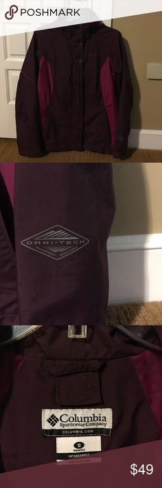 Columbia interchangeable jacket, great ski coat!! Two pieces can be worn separately or together. Gently used condition, clean inside and out!  No pilling on fleece. Both layers have zippered pockets. Two tone pinkish magenta colors Columbia Jackets & Coats