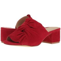 Chinese Laundry Marlowe (Rebel Red Kid Suede) Women's Shoes ($100) ❤ liked on Polyvore featuring shoes, sandals, slip on shoes, mid heel sandals, red mules, open-toe mules and red suede sandals