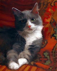 """Diane Hoeptner, Gray Tuxi Oil on panel, 10"""" x 8,"""""""