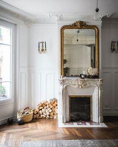 - above fireplace ideas White molding. Paris Apartment Decor, Apartment Decoration, Paris Home Decor, French Apartment, Fireplace Design, Fireplace Mantels, Bedroom Fireplace, Fireplace Mirror, Fireplace Ideas