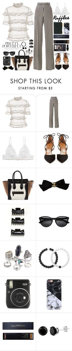 """""""Add Some Flair: Ruffled Tops"""" by martinabb ❤ liked on Polyvore featuring Maybelline, Etro, Monki, Aquazzura, Chanel, Lokai, Fuji, Sloane Stationery and Barry M"""