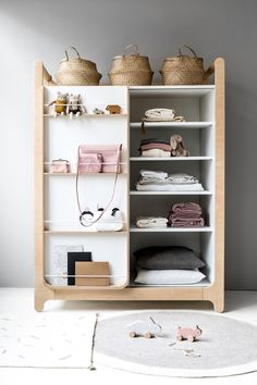 Modern and functional wardrobe for children from Rafa-kids. It Includes drawers, shelves, and clothes rack. Easy to use with sliding doors and perfect hight for toddlers.