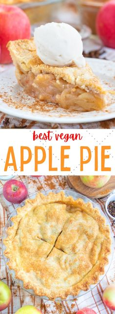 The best ever homemade vegan apple pie recipe made from scratch! Flaky and buttery crust with a warm spiced apple filling! #veganapplepie #veganpie #vegandessertrecipes #vegandesserts Healthy Vegan Desserts, Vegan Dessert Recipes, Delicious Vegan Recipes, Raw Food Recipes, Tasty, Healthy Recipes, Apple Pie Recipes, Tart Recipes, Sweet Spice