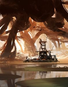 30 minutes painting done in December. by sparth Environment Concept Art, Environment Design, Environment Painting, Vegetal Concept, Fantasy World, Fantasy Art, Skyrim, Gaia, Matte Painting