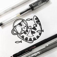 Space Cat Drawing, by Hugo Tattooer blackwork hugotattooer dotwork crosshatch