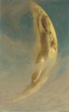 'The Waking Moon' - 1890-1 - by Arthur John Black (British, 1855-1936) - Oil on canvas