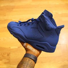 A Royal Blue Custom Air Jordan VI Photo taken by: @_humblebully on Instagram (He is also the person who did the custom work)