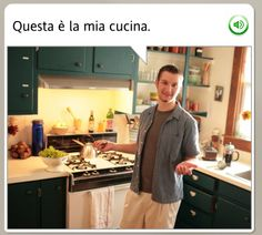 """THIS IS MY KITCHEN."" …and this is the spatula I hold up when I'm pretending to cook food in my kitchen. Maybe I'll just toss this lettuce around?  The funniest stock images from Rosetta Stone - MWL #languagelearning #Italian #funny"