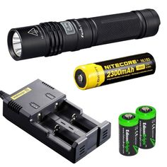 Fenix E35 Ultimate Edition 900 (E35UE) Lumen CREE XM-L2 U2 LED Flashlight with Nitecore NL183 18650 Li-ion rechargeable battery, Nitecore i2 intelligent Charger and 2 X EdisonBright CR123A Lithium batteries package - - Amazon.com