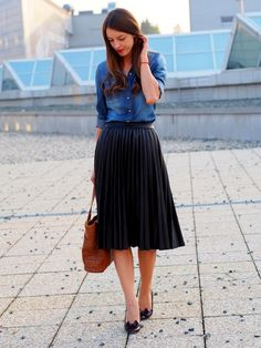 Pair your favorite LuLaRoe Jill skirt with a denim button-up shirt to recreate this look.