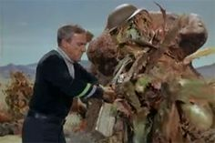 "Weird & wild aliens from 'Lost in Space: ""The Flaming Planet"" Dr. Smith is outfitting this plant creature for war. G.I. Palm?"