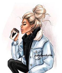 Super Ideas for fashion girl sketch Girly M, Cartoon Kunst, Cartoon Art, Black Girl Art, Black Women Art, Dibujos Pin Up, Girly Drawings, Fashion Wall Art, Fashion Design Sketches