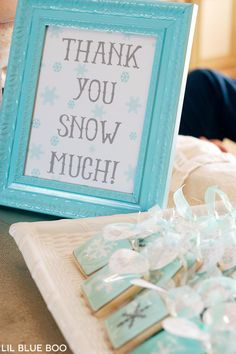 Birthday Decoration : Image : Description Thank you Snow Much Free Printable Sign for a Frozen Winter Snowflake Birthday Party via Ashley Hackshaw / Winter Birthday Parties, Frozen Themed Birthday Party, Birthday Party Themes, 3rd Birthday, Frozen Party Favors, Frozen Birthday Favors, Winter Party Themes, Birthday Ideas, Ideas Party