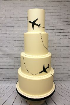 The perfect cake for a jet-setting couple! Custom Cakes, Airplane, Icing, Jet, Wedding Cakes, Couple, Urban, Creative, Desserts