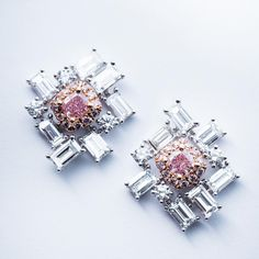 Bichachi Diamonds-SB Diamonds Asia Ltd (@bichachi.diamonds) on Instagram: Puzzle Earrings. The new attempt of Baguette-cut diamond matching with Fancy pink diamond earrings. bichachi.diamonds#diamond #diamondearrings #fancyshape #fancycolor #jewellerydesi