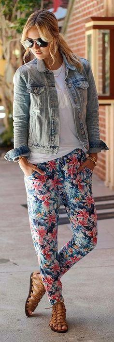 H&m Multi Floral Relaxed Slacks